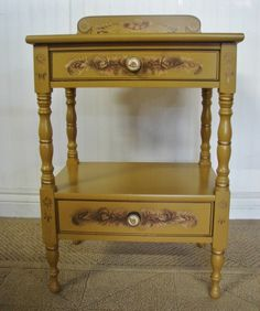 HITCHCOCK NIGHTSTAND, SIGNED, STENCILLED YELLOW TWO DRAWER MAPLE END TABLE #HITCHCOCK