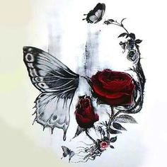 This Skull Butterfly and Rose tattoo is a strong symbol that has a powerful message of rebirth and our strong connection to the nature. The red color of Skull Butterfly Tattoo, Butterfly With Flowers Tattoo, Skull Rose Tattoos, Flower Skull, Butterfly Design, Forest Tattoos, Nature Tattoos, Tribal Tattoo Designs, Flower Tattoo Designs