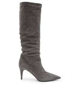 Mid-heel suede knee-high boots   Prada   MATCHESFASHION.COM Rodillas Altas 54a051d64b