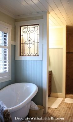 Use old stain glass windows! Interior Windows used as a separation in a bathroom. gives it an old home feel. Diy Interior, Interior Windows, Interior Exterior, Antique Interior, Bathroom Interior, Window Parts, Bathroom Renos, Bathroom Wall, Glass Bathroom