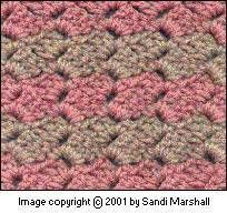 How to crochet the brick stitch (also called crazy stitch, crazy shell, or slanted shell).  This is a great stitch for bouclé or novelty yarns, as it's done in the chain spaces instead of the tops of the preceeding row's stitches. . . . .   ღTrish W ~ http://www.pinterest.com/trishw/  . . . .