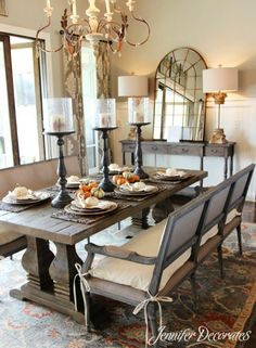 Decorating Dining Room Table Ideas For Decor Best Furniture Plans fall dining room table decorating ideas - Dining Room Decor Dining Room Buffet Table, Rustic Kitchen Tables, Dining Room Table Centerpieces, Farmhouse Dining Room Table, Table Decorations, Centerpiece Ideas, Dining Decor, Candle Centerpieces, Table Arrangements