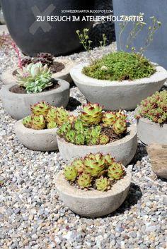Betonschalen im Atelier HolzARTig - Ein Schweizer Garten