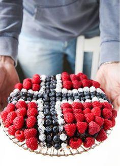 For ancestor dinner...a Norwegian Flag Cake!!