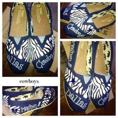 Dallas Cowboys painted shoes