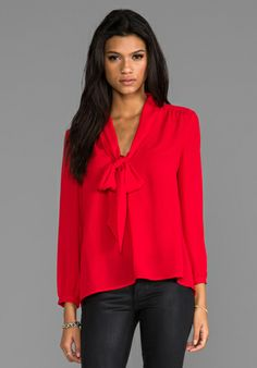 Juicy Couture Neck Tie Blouse in Lipstick Red