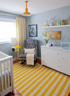 Get inspired by Traditional Nursery Design photo by Aly Velji Designs. Wayfair lets you find the designer products in the photo and get ideas from thousands of other Traditional Nursery Design photos. Light Blue Nursery, Grey Yellow Nursery, Nursery Neutral, Bright Nursery, Gray Yellow, Bright Yellow, Gray Bedroom, Trendy Bedroom, Bedroom Colors