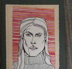OOAK Pen portrait drawing with watercolor by GoodAfternoonan, $24.00