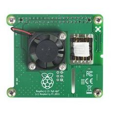 The Raspberry Pi PoE HAT is an add-on board that powers a Raspberry Pi 3 Model B+ via an Ethernet cable. Power-sourcing equipment is required on the Ethernet network. Raspberry Pi 1, Raspberry Pi Computer, Electromagnetic Compatibility, Switched Mode Power Supply, Cable Ethernet, Small Fan, Printed Circuit Board, Electronics Components, Hardware
