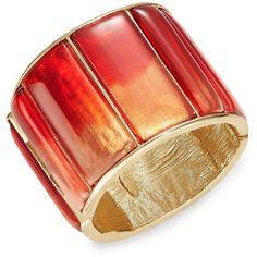 Oscar De La Renta Red Gemstone Bar Braclet ($490) ❤ liked on Polyvore featuring jewelry, bracelets, berry, gemstone bangle, red cuff bracelet, red jewelry, bangle cuff bracelet and hinged cuff bracelet