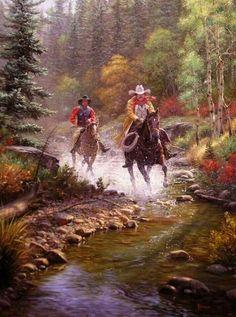 Walk On The Wild Side by czarnystefan Art Gallery Uk, Woman Riding Horse, Boat Art, Impressionist Artists, Cowboy Art, Le Far West, Mountain Man, Western Art, Horse Art