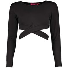 Boohoo Talia Cross Detail Long Sleeve Crop Top (9.99 CAD) ❤ liked on Polyvore featuring tops, crop tops, shirts, blouses, off the shoulder crop top, bralette crop top, long sleeve crop top and long sleeve lace bodysuit