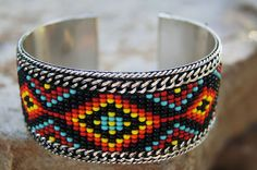 Tribal, Aztec, Beaded Bracelets. Silver edge. One Size Various Colors