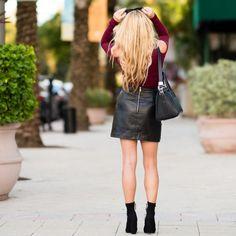 topshop, leather skirt, studs, steve madden, black booties, edit bootie, burgundy , fall colors, celine sunglasses, givenchy antigona