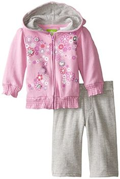 Watch Me Grow by Sesame Street BabyGirls Newborn 2 Piece Bow Design Sweatshirt and Pant Set Purple 36 Months -- For more information, visit image link.