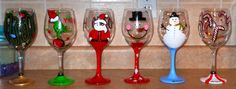 DIY painted glasses- I could put a stencil or printed piece of paper in the glass and trace it!