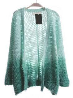 Blue Gradient Long Sleeve Hollow Kint Sweater - Sheinside.com