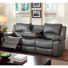 Furniture of America Rembren Grey Bonded Leather Reclining Sofa ($944) ❤ liked on Polyvore featuring home, furniture, sofas, grey, gray sofa, bonded leather couch, grey reclining sofa, grey couch and bonded leather furniture