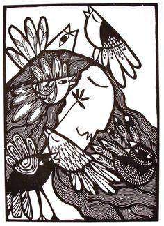 "Pajaristicamente alejandro silva - grabado "" it's confusing me "" Engraving Printing, Wood Engraving, Social Art, Guache, Painting Gallery, Arte Popular, Logo Inspiration, Illustration Art, Art Illustrations"