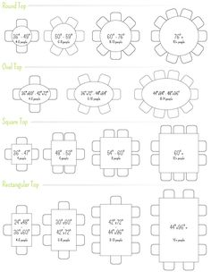 Dining Table seating capacities chart by size and shape ...
