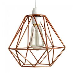Industrial Style 'Diablo' Wire Frame Polygon Diamond Pendant Shade