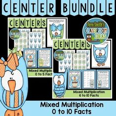 Mixed Multiplication Math Center Games Bundle of 0 to 10 Multiplication Facts - This math resource includes ~ Center cover, math center sign, eight pages of playing cards, teacher directions to differentiate, student directions and self-checking answer keys. #TPT #FernSmithsClassroomIdeas