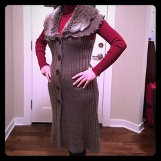 Long cardigan With Brown fur, handcrafted garment. Sweaters Cardigans