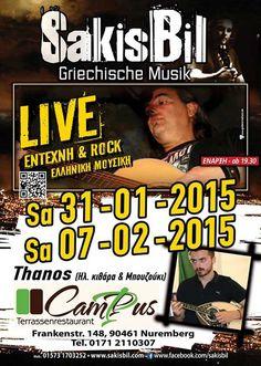 Griechische moderne und Rock Live Musik mit Sakis Bil am 07.02.2015 in Nürnberg.