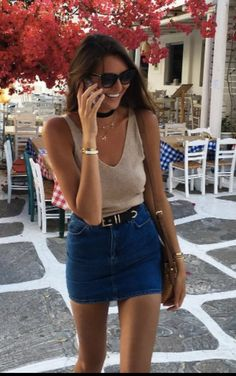 sweater tank w/ jean skirt