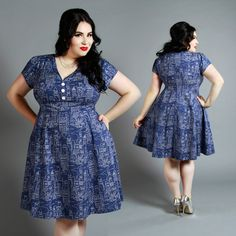 Full of retro and vintage inspired style is our magical Navy castle print. Be a classic pin-up princess in a full skirt & pleated sleeves! Reg & Plus sizes