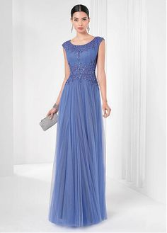 Marvelous Tulle & Satin Scoop Neckline Floor-length A-line Evening Dresses with Beadings and Sequins
