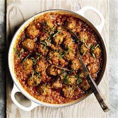 Lamb and mint meatball tagine with chermoula recipe. Chermoula is a fresh mint and herb paste from North Africa. This tagine is great with buttered couscous and a little finely chopped preserved lemon peel.
