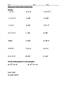 Worksheets Product Rule Worksheet homework exponent rules practice for you image 2