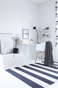 Good morning 🍂 Here's how my home office makeover turned out, what do you think? Swipe to see it before ✨ I'm planning on doing some shopping today 🛍 How about you? Have a wonderful autumn day 💛🍂 . Study Corner, Student Apartment, Office Makeover, White Houses, Home Fashion, Home Office, Sweet Home, New Homes, Interior Design