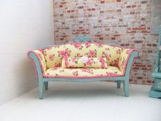 Doll House Miniature Sofa....french country by Deeswareminiatures