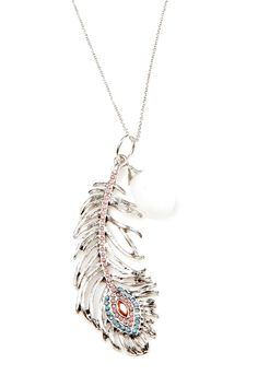 silver beaded feather necklace