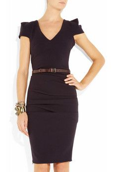 LA PETITE S*****  belted stretch-crepe dress.