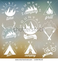Retro vintage style symbols for Mountain Expedition: Adventure, Mountain Camping, Mountain Hunting, Mountain Tour, Mountain Foods, Camping s...