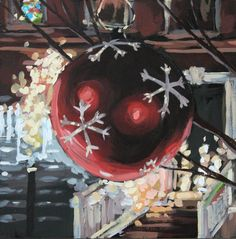 Red Christmas ornament painting by Anna Guiles.