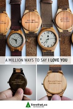 We all have different ways of showing our love. Tree Hut watches let you engrave your own special message on the back of every watch. Choose from canvas, stainless steel and wood watch straps to create a handmade and completely versatile watch they'll lo Cute Gifts, Diy Gifts, Holiday Gifts, Unique Gifts, Best Gifts, Christmas Gifts, Tree Hut Watches, Cadeau Couple, Little Presents