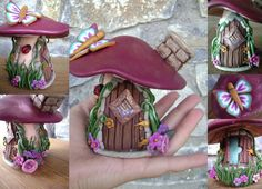 how to make a polymer clay fairy house Polymer Clay Fairy, Fimo Clay, Polymer Clay Projects, Polymer Clay Creations, Polymer Clay Mushroom, Clay Fairy House, Fairy Houses, Crea Fimo, Clay Jar