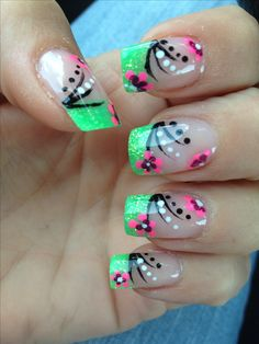 Unique and Beautiful Nail Art Designs 2017 - Artistic Nail Designs Fingernail Designs, Toe Nail Designs, Acrylic Nail Designs, Green Nail Designs, Pretty Nail Designs, Fancy Nails, Pretty Nails, Spring Nails, Summer Nails