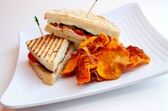 Turkey Club with Sweet Potato chips from Greenz Restaurant in Dallas, TX