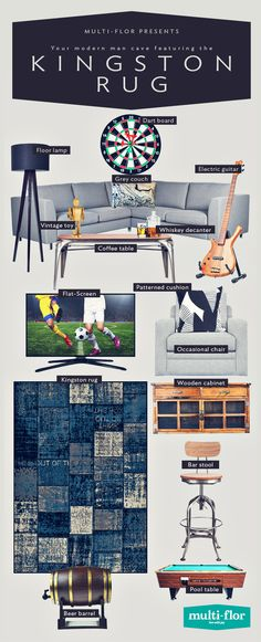 This man cave is the kind of sweet escape that will make your place the go-to on game nights. Size: x Whiskey Decanter, Wooden Cabinets, New Living Room, Pool Table, Occasional Chairs, Geometric Designs, Home Look, Kingston, Man Cave