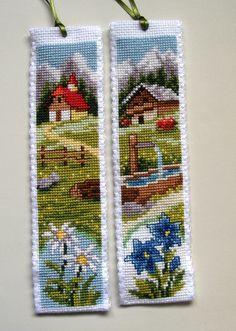 Vervaco cross stitch bookmarks- Alpine chalets