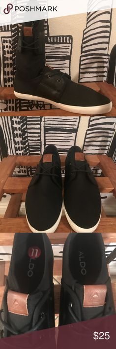🙌🏾Brand New Aldo Sneakers #0155AO Brand new Aldo black lace up sneakers with leather details on the tongue and heel of shoe. Runs true to size. #men #sneakers #Aldo #size11 #size44 #streetwear #menstyle #causal #businesscasual #new Aldo Shoes Sneakers