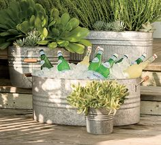 Shop eclectic galvanized metal planters from Pottery Barn. Our furniture, home decor and accessories collections feature eclectic galvanized metal planters in quality materials and classic styles. Galvanized Planters, Metal Planters, Galvanized Metal, Trough Planters, Rustic Planters, Flower Planters, Outdoor Parties, Outdoor Entertaining, Barn Parties