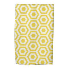 Yellow and White Honeycombs Pattern Towels