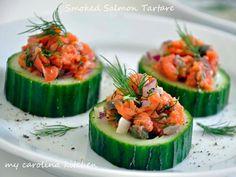 smoked salmon tartare on cucumber rounds...