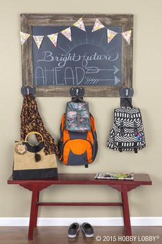 Keep your home a clutter-free zone by creating this simple backpack station! Just hang your chalkboard, add hooks, and enjoy a clean space.